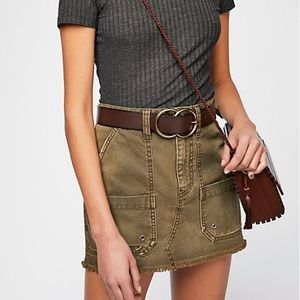 free people olive cargo skirt